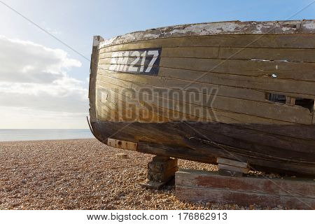 BRIGHTON GREAT BRITAIN - FEB 24 2017: Brighton beach a boat in the foreground and the sea in the background. February 24 2017 in Brighton Great Britain