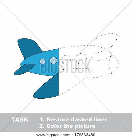 Airplane in vector to be traced. Restore dashed line and color the picture. The tracing game for preschool children with easy game level.
