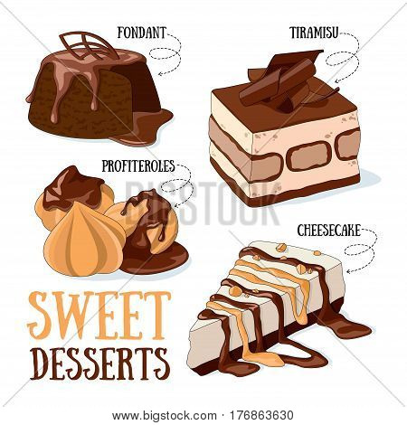 Set of 4 vector desserts illustrations: fondant profiteroles tiramisu cheesecake.