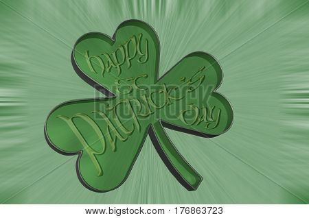 3D Illustration. A shamrock isolated against a green background with the word Happy St Patricks day