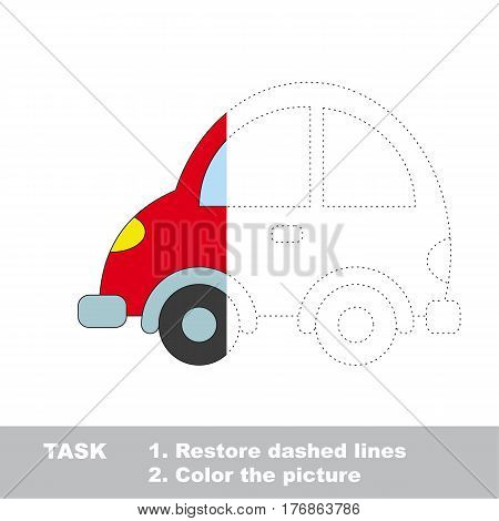 Automobile in vector to be traced. Restore dashed line and color the picture. The tracing game for preschool children with easy game level.