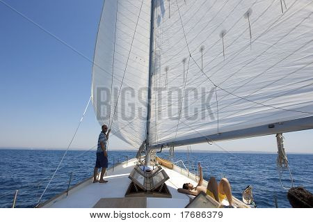 Man On A Sailing Boat