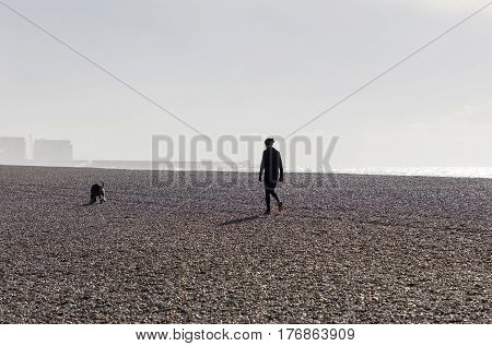 BRIGHTON GREAT BRITAIN - FEB 28 2017: Brighton beach made of pebbles during the morning a woman and dog walking. February 28 2017 in Brighton Great Britain