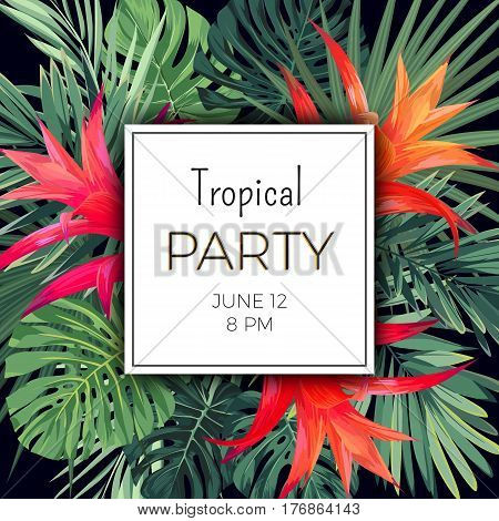 Hawaiian floral banner template for summer beach party. Tropical flyer with green exotic plants and red flowers, vector illustration.