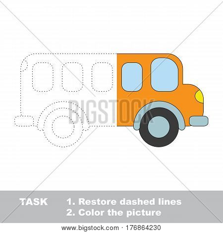 Orange bus in vector to be traced. Restore dashed line and color the picture. The tracing game for preschool children with easy game level.