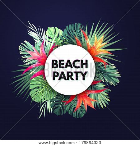 Dark vector tropical background with green palm leaves and guzmania flowers. Exotic summer party flyer design. Vector illustration.
