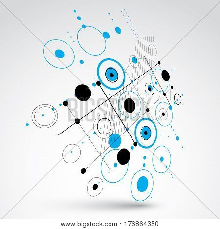3d vector Bauhaus abstract background made with grid and overlapping simple geometric elements circles and lines. Retro style artwork in blue color graphic template for advertising poster.
