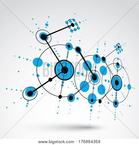 Bauhaus art dimensional composition perspective blue modular vector backdrop with circles and grid. Retro style pattern graphic backdrop for use as booklet cover template.