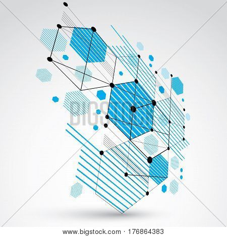 3d vector Bauhaus abstract background made with grid and overlapping geometric elements circles and honeycombs. Retro artwork technology style blue graphic template for advertising poster.