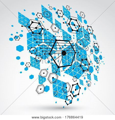 3d vector abstract background created in Bauhaus retro style. Modern geometric composition can be used as templates and layouts. Engineering technological blue backdrop made with honeycombs.