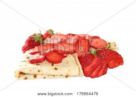 A pancake is a flat cake often thin and round prepared from a starch-based batter that may also contain eggs milk and butter and cooked on a hot surface such as a griddle or frying pan often with oil or butter.