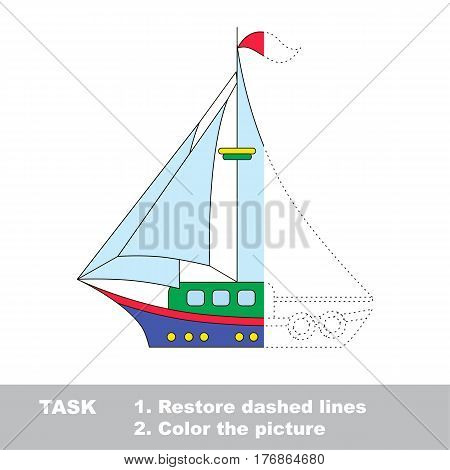 Boat in vector to be traced. Restore dashed line and color the picture. The tracing game for preschool children with easy game level.
