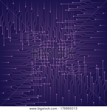 Abstract technological purple background with elements of the microchip. Circuit board background texture. Vector illustration.