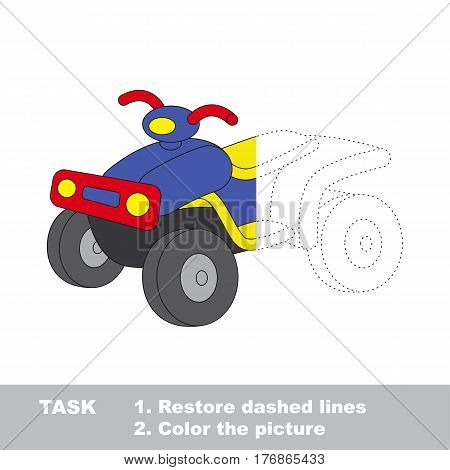 Quad bike in vector to be traced. Restore dashed line and color the picture. The tracing game for preschool children with easy game level.