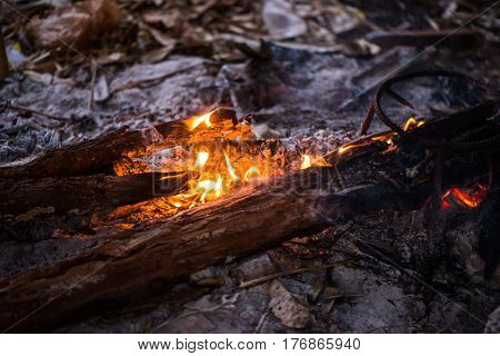 Fire in outdoors fire pit - Camp fire., Sensitive focus