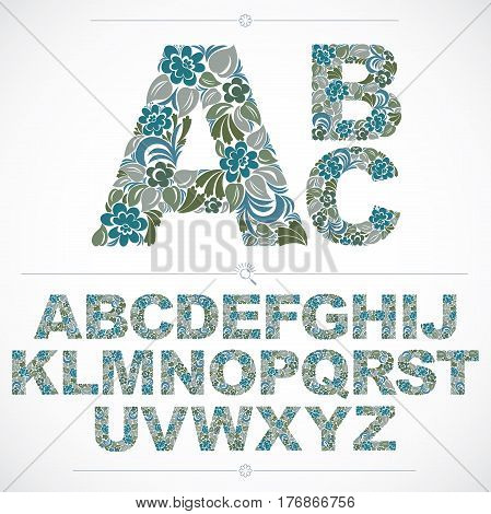 Set Of Vector Ornate Capitals, Flower-patterned Typescript. Colorful Characters Created Using Herbal
