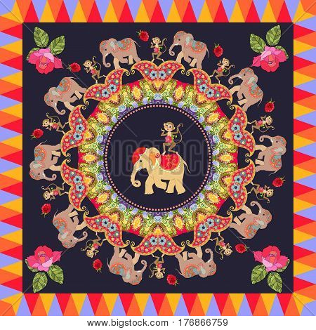 Beautiful poster with cute elephants, cheerful dancing monkeys, round ornament with paisley roses and multicolor frame on black background. Festive indian pattern.