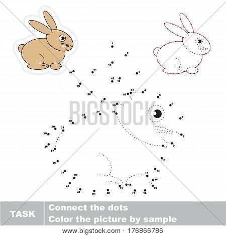 Bunny in vector to be traced by numbers, the easy educational kid game with simple game level, the education and gaming for kids, visual game for children.