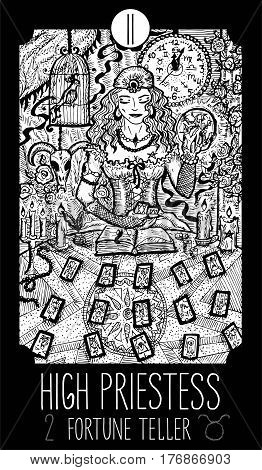 High Priestess. 2 Major Arcana Tarot Card. Fortune Teller. Fantasy engraved line art illustration. Engraved vector drawing. See all collection in my portfolio set