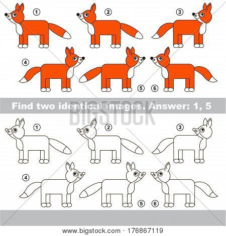 Educational kid matching game to find design difference, the task is to find similar Foxes. The educational game for kids with easy game level. Compare objects and find two same Foxes.
