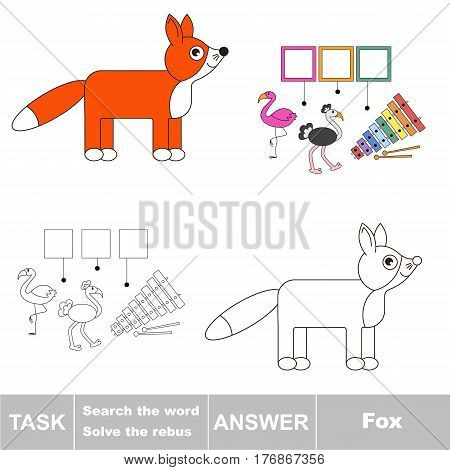 Vector rebus game for preschool kids with easy educational game level for kid education during gaming, find solution and write the hidden word in grid cells - Fox.