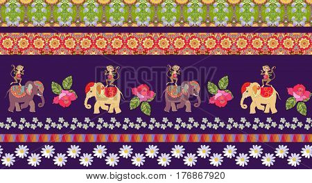Beautiful endless striped pattern with cute cartoon elephants and monkeys, flowers and ethnic ornament. Indian, african, thai motives.