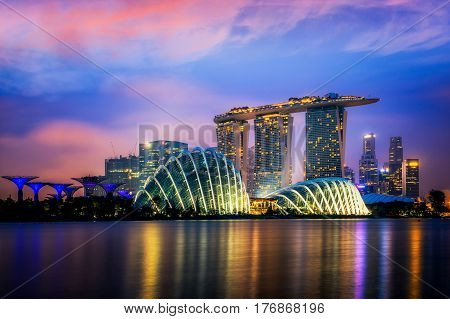 Landscape of Singapore city Singapore  with business building center background.