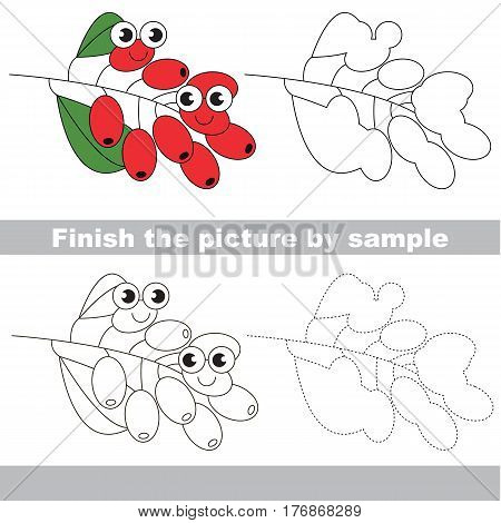 Drawing worksheet for children, the easy educational kid game with simple game level to educate preschool kids. Finish the picture and draw the funny Bunch of barberry
