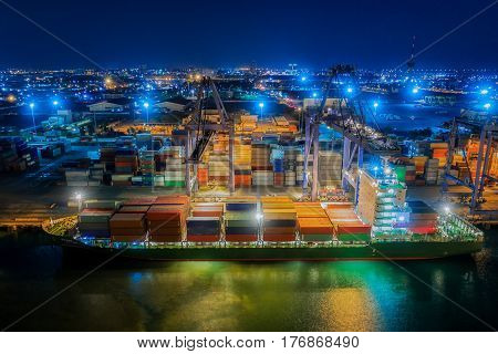 Logistic hub port in thailand central of container handling and import export from vessel