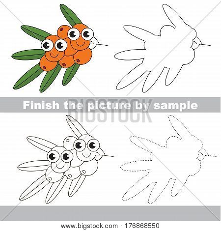 Drawing worksheet for children, the easy educational kid game with simple game level to educate preschool kids. Finish the picture and draw the funny Buck Thorn.
