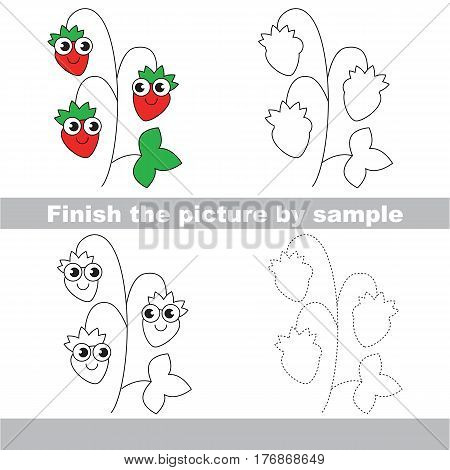 Drawing worksheet for children, the easy educational kid game with simple game level to educate preschool kids. Finish the picture and draw the funny Wild Strawberry.
