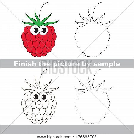 Drawing worksheet for children, the easy educational kid game with simple game level to educate preschool kids. Finish the picture and draw the funny Raspberry.