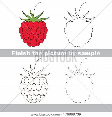 Red Raspberry to be finished, page to be completed to educate preschool kids with easy kid educational gaming and primary education of simple game level of difficulty.
