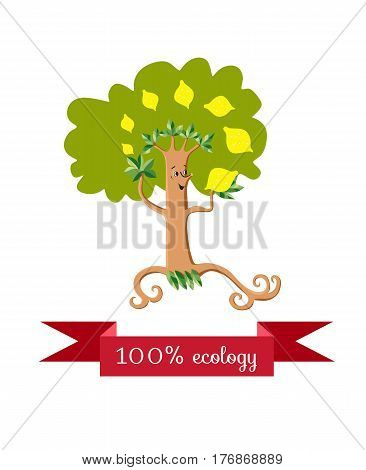 Unusual ecology icon. Cheerful dancing lemon tree juggling fruit on white background. Beautiful packaging for juice. Vector illustration.