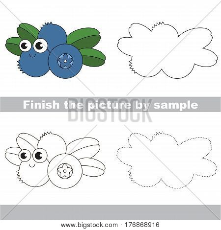 Drawing worksheet for children, the easy educational kid game with simple game level to educate preschool kids. Finish the picture and draw the funny Blueberry.