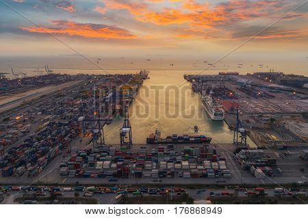 Sea port logistic hub with crane container boat and vessel