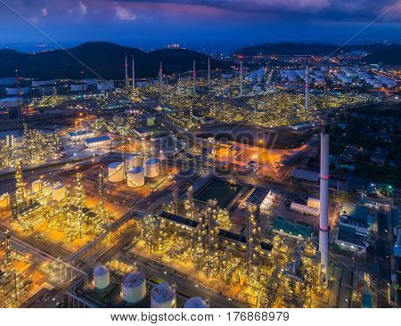 Oil refinery and chemical plant from air bird eye view Factory industrial and Energy concept