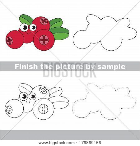 Drawing worksheet for children, the easy educational kid game with simple game level to educate preschool kids. Finish the picture and draw the funny Cow Berry.