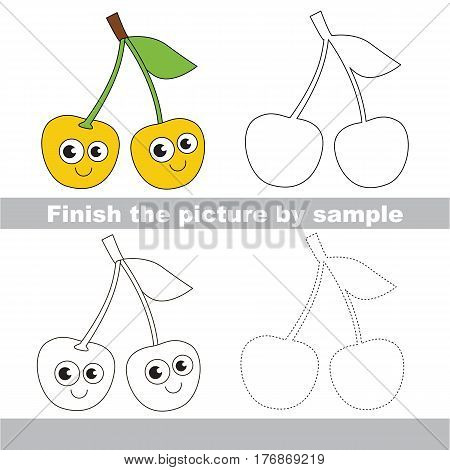 Drawing worksheet for children, the easy educational kid game with simple game level to educate preschool kids. Finish picture and draw the funny Two Yellow Cherries.