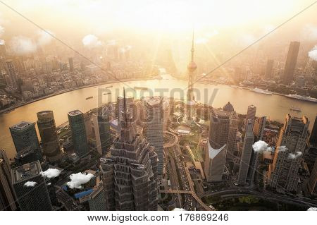 Shanghai view point hight building city sunset and river Shang hai China Asia