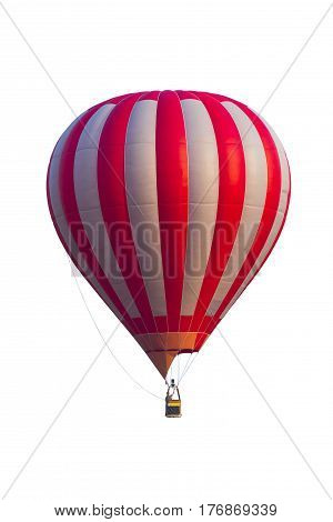 Hot air ballon for designer on white background and clipping part for easy to use red