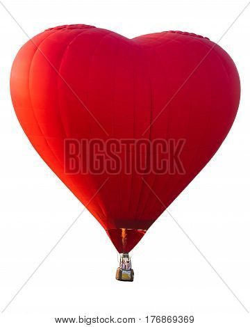 Red heart hot air balloon good for made icon for love and valentine day concept