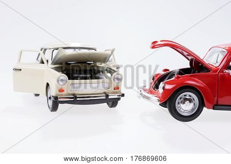 Car breakdown, imitated with two toy cars