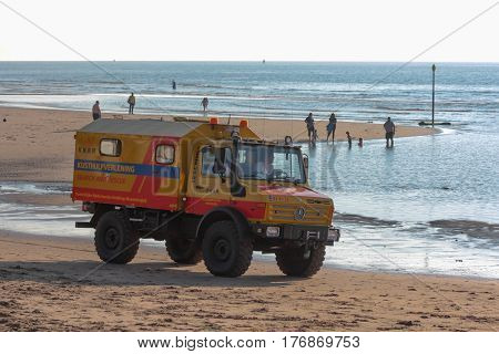 Kijkduin beach the Netherlands - July 4 2016: surf life saving vehicle on the beach