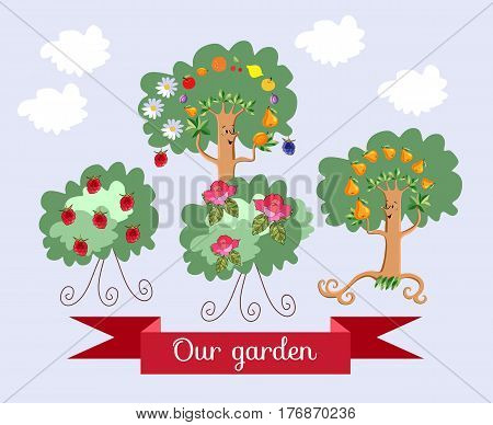 Garden. Unusual ecology icon. Merry fabulous fruit trees juggling fruit, raspberry bush and shrub roses with beautiful banner. Wrapping design for juice, jam, marmalade. Vector illustration.