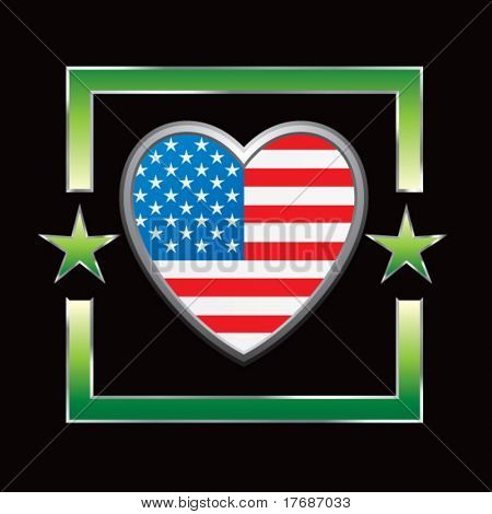 american flag heart icon on star background