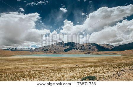 Kyagar Tso Lake in Indian Himalaya North India Ladakh region
