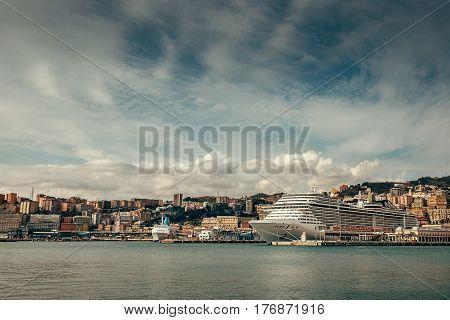 Ocean liner in Old Port in Genova Italy .