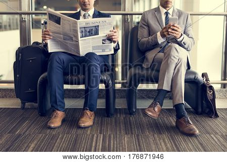 Business Men Break Sit Read Newspaper