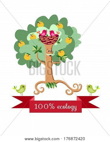 Beautiful wrapping design for fruit jam, juice, marmalade. Apple tree in the form of a stylized elderly mustachioed man in stylized fur hat in form nest. Cute cartoon ecology vector illustration
